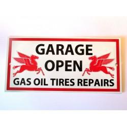 plaque mobilgas garage open avec le pégase tole affiche