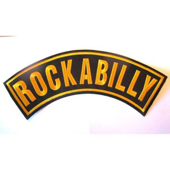 gros patch banderolle rockabilly jaune 33cm écusson dos veste blouson biker  fan motorhead