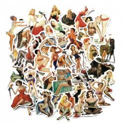 lot de 50 stickers pin style ann&e 50 autocollant fond blanc femme sexy