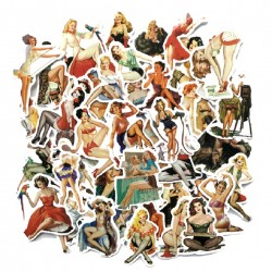 lot de 50 stickers pin style ann&e 50 autocollant fond blanc femme sexy