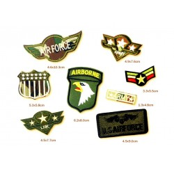 lot de 8 patches militaire armé americaine us air force kaki  ecusoon thermocollant déco vetements