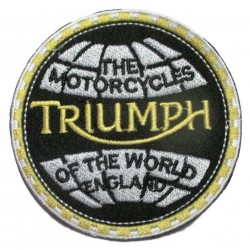patch moto triumph world planete 8cm ecusson thermocollant