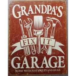 plaque grandpa's garage 41cm tole pub affiche usa deco usa