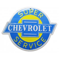 plaque chevrolet super & service à oreille 30cm tole deco garage