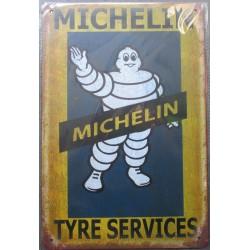 plaque tole michelin tyre service jaune bleu aspect vieillit 30x20cm tole pub garage  diner loft