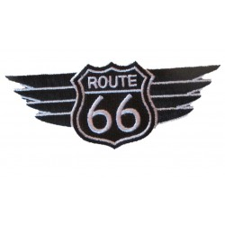 grand patch blason route 66 aillé noir blanc 18 cm ecusson thermocolant