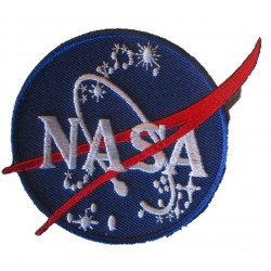 patch logo nasa bleu et rouge 10x7,5cm ecusson thermocolant