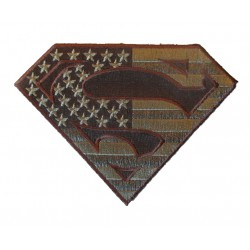patch logo superman drapeau usa kaki 12.5 cm ecusson thermocollant