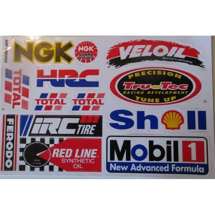 planche de stickers ngk  shell mobil1 autocollant sponsor fond blanc