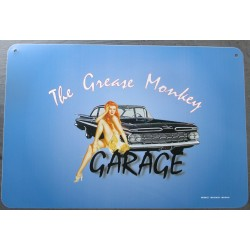 plaque grease monkey garage bleu pin up et voiture kustom tole pub usa