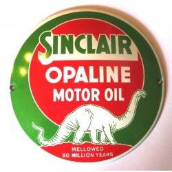 mini plaque emaillée  sinclair opaline ronde 12cm huile oil tole email garage