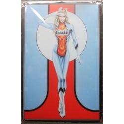 plaque  gulf pin up blonde qui fait un salut  militaire garage 30cm tole publicitaire metal pub