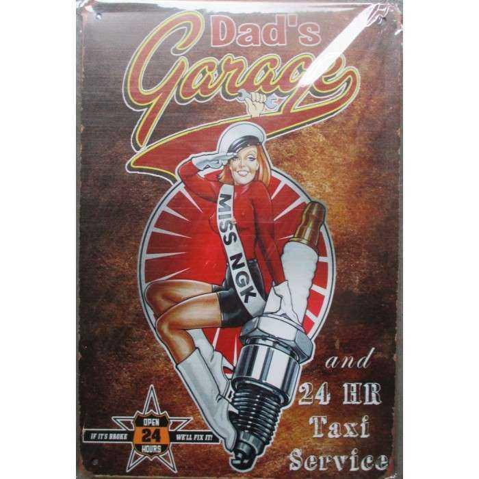Plaque Dads Garage Et Pin Up Bougie NGK Spark Plug 30cm
