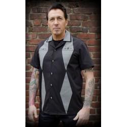 chemise rumble 59 noir et pied de poule  modele couronne chemisette homme L