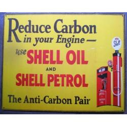 plaque shell reduce carbon rect auto oil huile deco garage tole usa