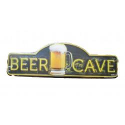 plaque tole beer cave 46x14  cm tole pub biere usa man affiche