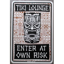 plaque tiki lounge enter at own risk 46cm tole publicitaire diner bar loft usa