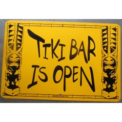 plaque tiki  bar is open fond jaune  46cm tole publicitaire diner bar loft usa