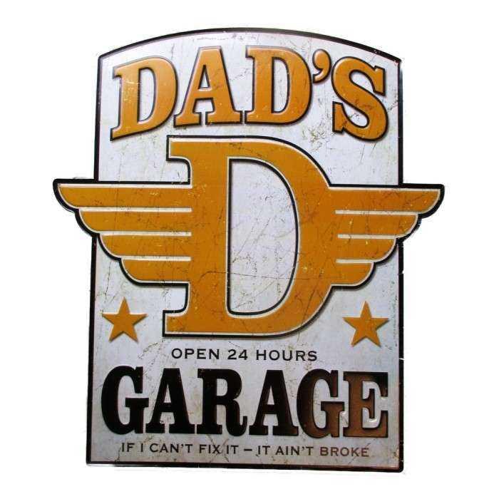 grande plaque dads garage blason de 58x52 cm tole metal garage diner loft