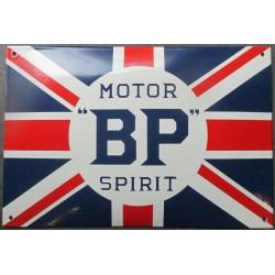 plaque emaillée bombée BP motor oil drapeau angleterre 37x25 cm chevrolet super service deco email tole  garage pub