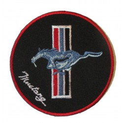patch mustang  rond noir 8cm ecusson thermocollant garage