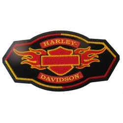 gros patch harley davidson officiel logo rouge orange 38c20cm  kustom kulture ecusson dos veste blouson