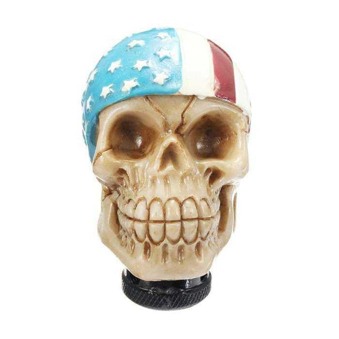 levier de vitesse crane bandana drapeau americain tete de mort
