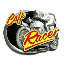 boucle de ceinture café racer logo jaune et rouge officiel USA homme femme mixte