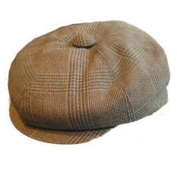 casquette vintage marron moyen rayé taille 56 cm homme femme enfant rockabilly pin up