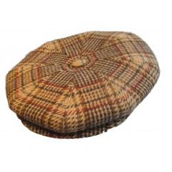 casquette vintage beige clair rayé marron vert rouge laine mélangé taille 54 cm homme femme enfant rockabilly pin up