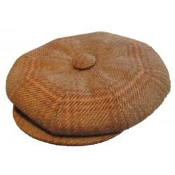 casquette vintage beige marron clair et foncé laine mélangé taille 54 cm homme femme enfant rockabilly pin up
