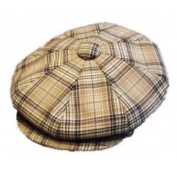 casquette vintage beige  rayé marron  laine  mélangé taille 55 cm homme femme enfant rockabilly pin up