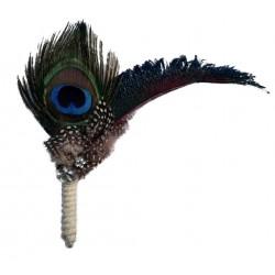broche boutonniere en plumes de paon perle et strass femme pin up