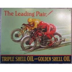 plaque shell 2 moto anciennes qui font la course oil huile deco garage tole usa