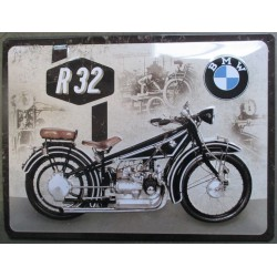 plaque moto bmw R32 tole 40cm  bombée motorcycle deco garage metal