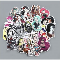 lot de 50 stickers pin up tattoo tatoué sexy autocollant fond blanc femme
