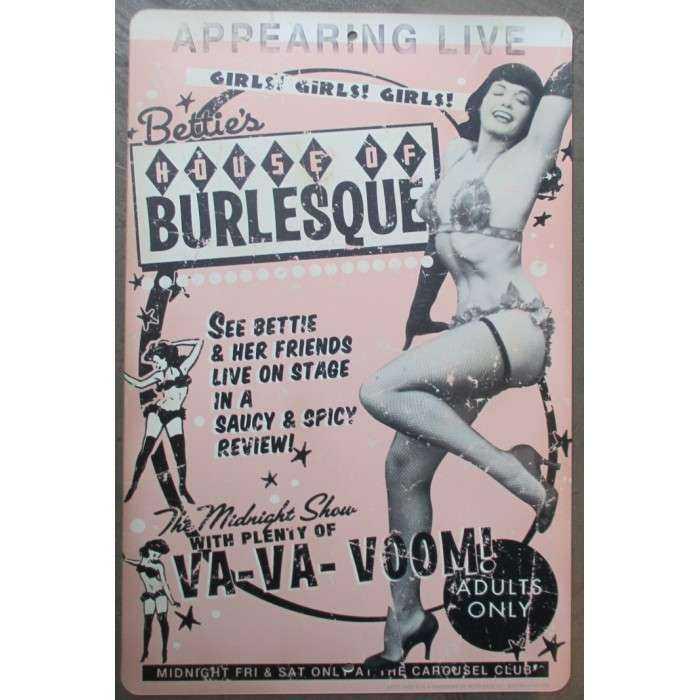 plaque plastique souple sexy bettie page burlesque  46x30 affiche traitée anti UV