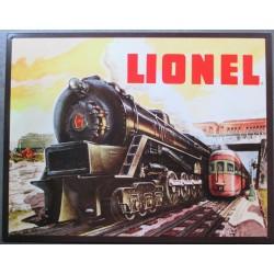 plaque train de couleur noire vielle locomotive lionel deco tole pub affiche metal us