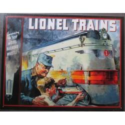 plaque train miniature  tenu par un enfant devant le train réel onel deco tole pub affiche metal us