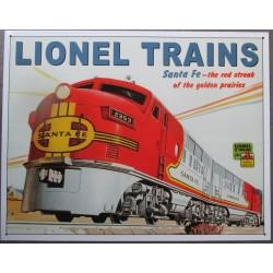 plaque train rouge santa fé loonel deco tole pub affiche metal usa
