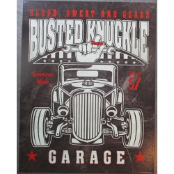 plaque busted knuckle hot rod garage , blood sweat and cears tole pub affiche metal usa