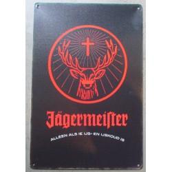 plaque jagermeister logo rouge tole 30x20cm  pub bar  boite de nuit