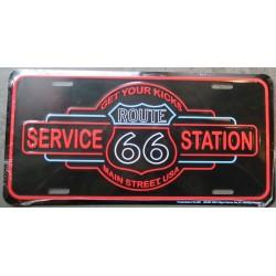 plaque d'immatriculation route 66 service station tole deco affiche us