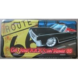 plaque d'immatriculation route 66 et lincoln noire voiture amaericaine  tole deco affiche us