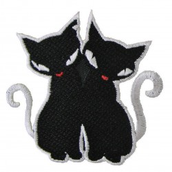 patch deux chat noir ecusson thermocollant rock roll rockab