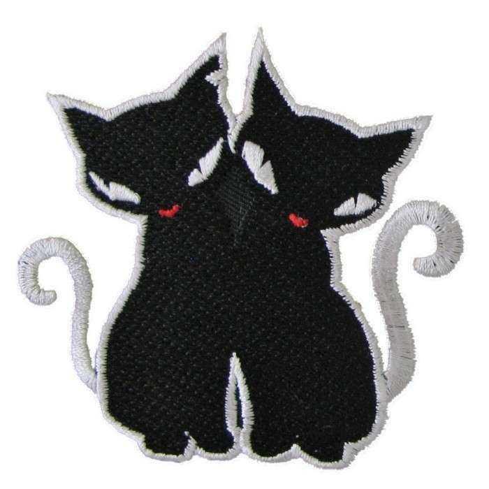 patch deux chat noir ecusson thermocollant rock roll rockab