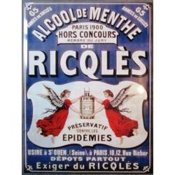 plaque tole ricqles bleu alcool de menthe preserve des épidemies cm tole pub
