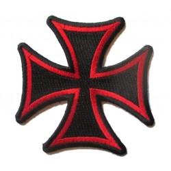 patch croix de malte noir tour rouge ecusson rock roll biker templier