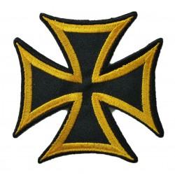 patch croix de malte noir tour jaune ecusson 7.5cm rock roll biker templier