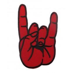 patch main faisant le logo hard rock noir rouge 11cm  ecusson thermocollant fan rock roll